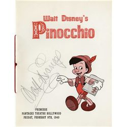 Walt Disney signed Pinocchio premiere program