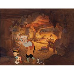 Important production background with cels of Geppetto, Figaro and Pinocchio from Pinocchio