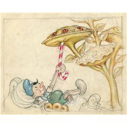 Original color concept drawing from Pinocchio