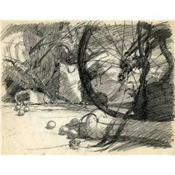 Original background layout drawing from Pinocchio