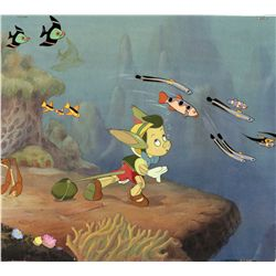 Original production cels and watercolor production background from Pinocchio