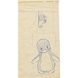 Preliminary rough pencil drawings for Donald's Penguin