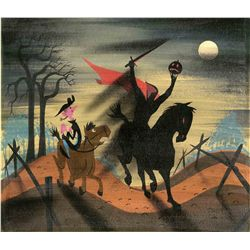 Mary Blair concept art featuring the Headless Horseman from The Adventures of Ichabod and Mr. Toad