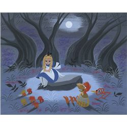 Mary Blair original concept painting of Alice in the Tulgey Woods from Alice in Wonderland