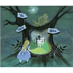 Mary Blair concept painting of Alice & Cheshire Cat in the Tulgey Woods from Alice in Wonderland