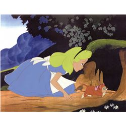 Original production cels of Alice and Dinah from Alice in Wonderland
