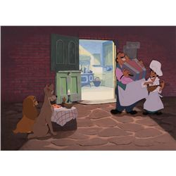 """Original production cels from the """"Bella Notte"""" sequence of Lady and the Tramp"""