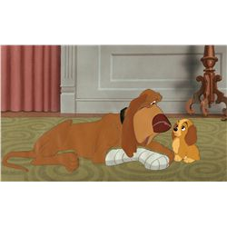 Original production cel and matching background from Lady and the Tramp