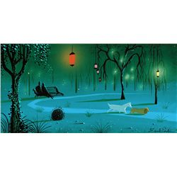 Eyvind Earle original color concept painting for Lady and the Tramp