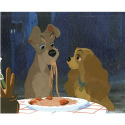 """Original cels and studio prepared background from the """"Bella Notte"""" sequence of Lady and the Tramp"""