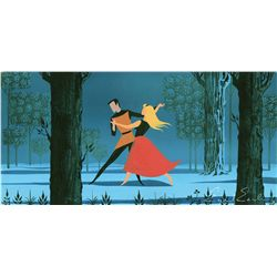 Eyvind Earle signed original color concept painting from Sleeping Beauty