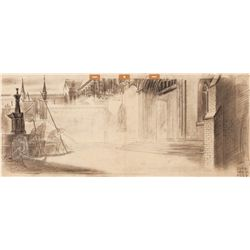 Original pan background layout drawing from Sleeping Beauty