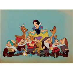 Hand-painted cel of Snow White and the Seven Dwarfs