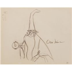 Ollie Johnston signed animation drawing from The Sword in the Stone