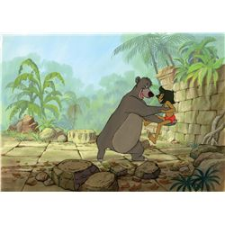 Original production cel, matching production drawing and background from The Jungle Book