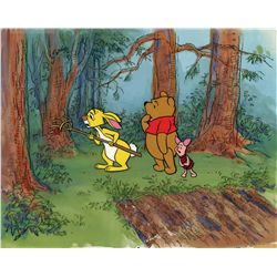 Pooh, Piglet & Rabbit production cels on matching production background