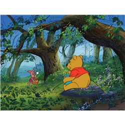 Original production cel and production background featuring Winnie the Pooh and Piglet