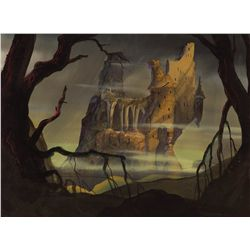 Preliminary background painting from The Black Cauldron