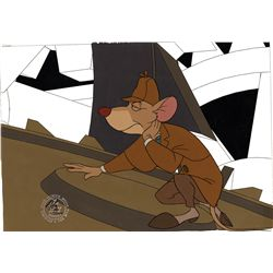 Original production cel and production drawing from The Great Mouse Detective