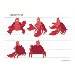 Sebastian color model cel from The Little Mermaid