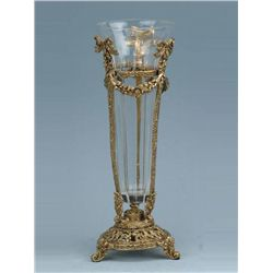 ITALIAN CRYSTAL VASE IN BRASS STAND