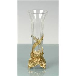 CRYSTAL VASE W/ BRASS BASE
