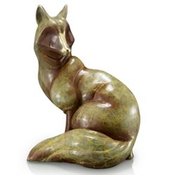 Sitting Fox Bronze Sculpture