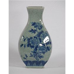 Antiqued Blue Porcelain Vase