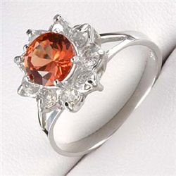2.0 Ctw. Orange Sapphire & Diamond Ring -10kw Gold