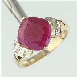 3.0 Ctw. Ruby & Diamond Ring - 10ky Gold