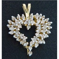 1 Ctw. Diamond Heart Pendant 10ky