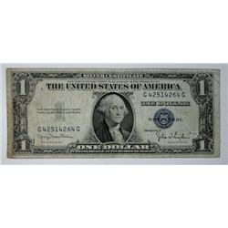 1935-D $1.00 U.S. SILVER CERTIFICATE, OFF CENTER PRINTING ON REVERSE VG/FINE