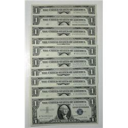 ( 10 ) CRISP UNCIRCULATED 1957 U.S. $1.00  SILVER CERTIFICATES , EST $70-$80