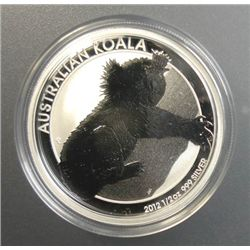2012 AUSTRALIAN HALF DOLLAR KOALA, 1/2 OUNCE .999 SILVER BEAUTIFUL COIN