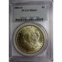 1884 O MORGAN DOLLAR MS64 + PCGS,EST. $100-$110