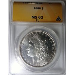 1886 MORGAN DOLLAR ANACS MS62 PL NICE! EST. $70-$75
