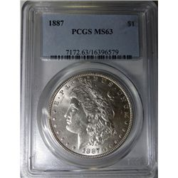 1887 MORGAN DOLLAR PCGS MS63 EST. $70-$75