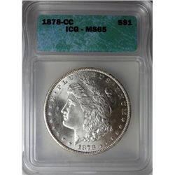 1878-CC MORGAN DOLLAR ICG MS65 BLAST WHITE GEM, EST. $1075-$1150