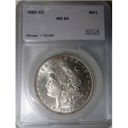 1882-CC MORGAN DOLLAR GEM BU VERY NICE!, EST. $230-$245