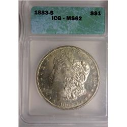 1883-S MORGAN SILVER DOLLAR ICG MS-62