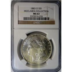 1883-O MORGAN DOLLAR NGC MS63 EST. $70-$75