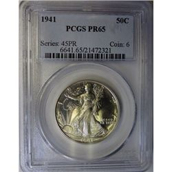 1941 WALKING LIBERTY HALF DOLLAR PCGS PROOF65, SUPERB! EST. $550-$575