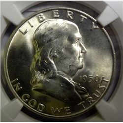 1950-D FRANKLIN HALF DOLLAR NGC MS65 FBL SUPERB! EST. $315-$335