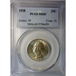 1938 WASHINGTON QUARTER PCGS MS65 GEM EST. $190-$205