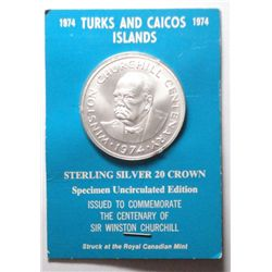 1974 Turks and Caicos Winston Churchill  silver 20 crown