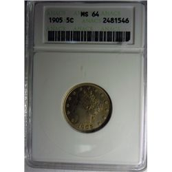 1905 LIBERTY NICKEL ANACS MS64, VERY NICE!