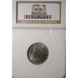 1908 LIBERTY NICKEL NGC MS66 BEAUTIFUL!