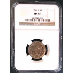 1923-S BUFFALO NICKEL NGC MS62 VERY NICE!  EST. $590-$625
