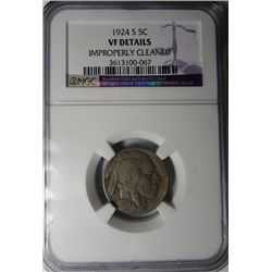 1924-S BUFFALO NICKEL NGC VF SAYS CLEANED, ITS NOT EST. $125-$135