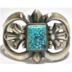 Old Pawn Navajo Spider Web #8 Turquoise Sterling Silver Cuff Bracelet - Harrison Bitsue